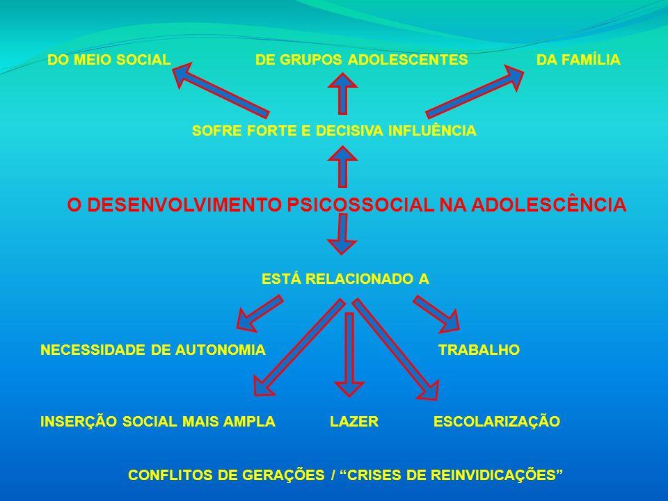 DO MEIO SOCIAL DE GRUPOS ADOLESCENTES DA FAMÍLIA SOFRE FORTE E DECISIVA INFLUÊNCIA O DESENVOLVIMENTO PSICOSSOCIAL NA ADOLESCÊNCIA ESTÁ RELACIONADO A N