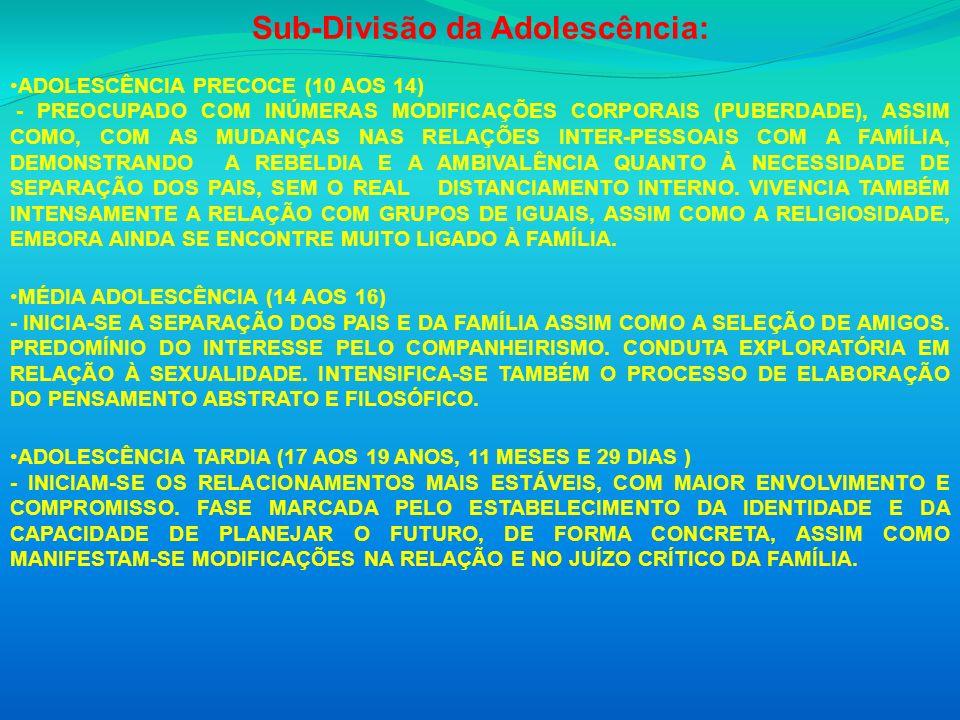 Sub-Divisão da Adolescência: ADOLESCÊNCIA PRECOCE (10 AOS 14) - PREOCUPADO COM INÚMERAS MODIFICAÇÕES CORPORAIS (PUBERDADE), ASSIM COMO, COM AS MUDANÇA