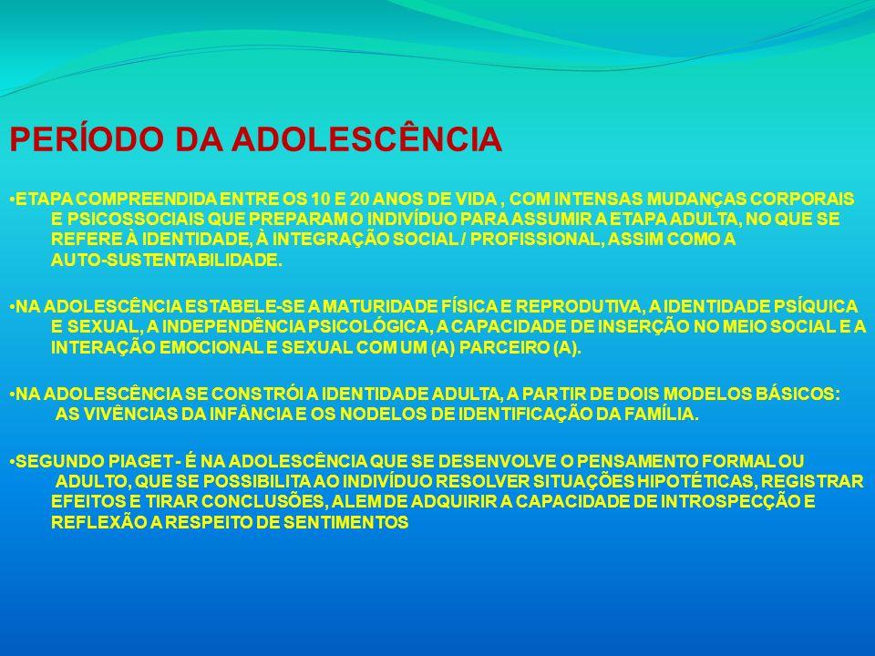PERÍODO DA ADOLESCÊNCIA ETAPA COMPREENDIDA ENTRE OS 10 E 20 ANOS DE VIDA, COM INTENSAS MUDANÇAS CORPORAIS E PSICOSSOCIAIS QUE PREPARAM O INDIVÍDUO PAR