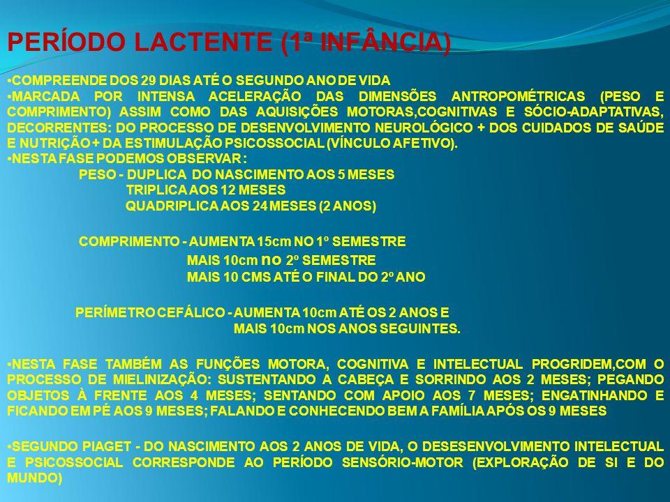 PERÍODO LACTENTE (1ª INFÂNCIA) COMPREENDE DOS 29 DIAS ATÉ O SEGUNDO ANO DE VIDA MARCADA POR INTENSA ACELERAÇÃO DAS DIMENSÕES ANTROPOMÉTRICAS (PESO E C