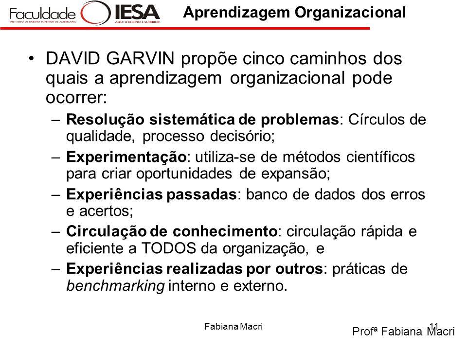 Profª Fabiana Macri Aprendizagem Organizacional Fabiana Macri11 DAVID GARVIN propõe cinco caminhos dos quais a aprendizagem organizacional pode ocorre