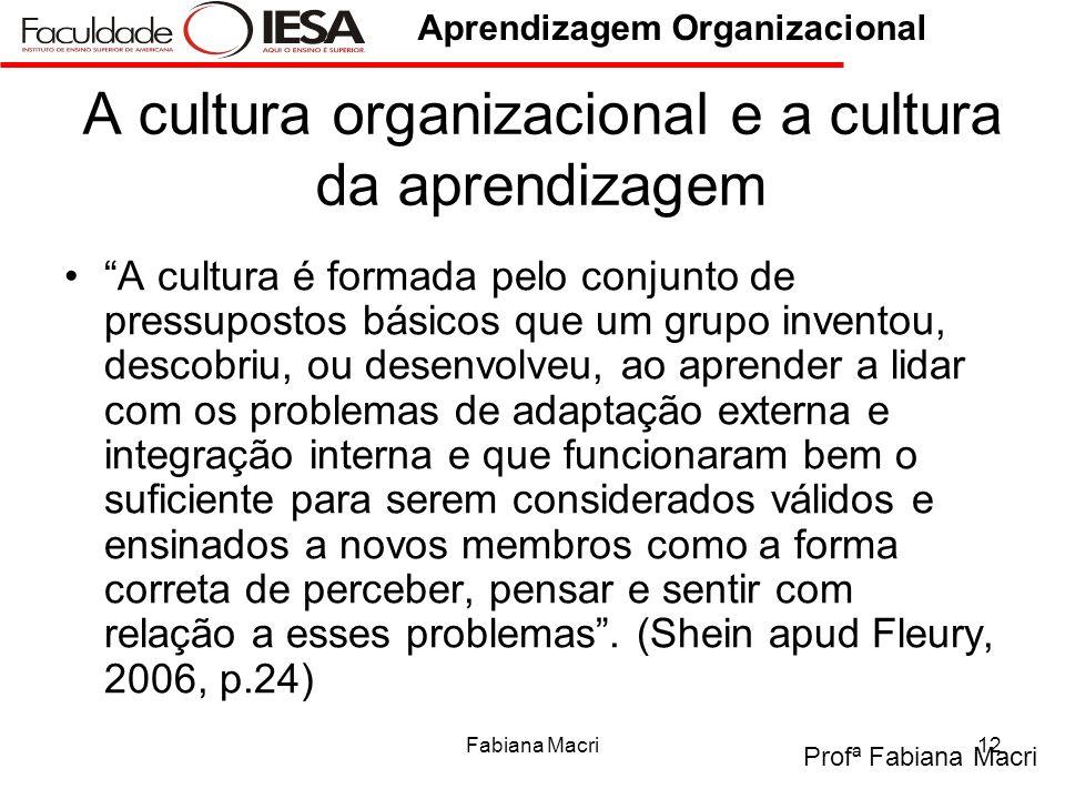 Profª Fabiana Macri Aprendizagem Organizacional Fabiana Macri12 A cultura organizacional e a cultura da aprendizagem A cultura é formada pelo conjunto