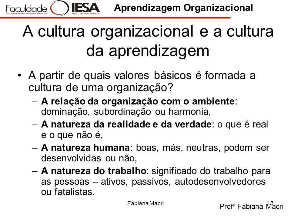 Profª Fabiana Macri Aprendizagem Organizacional Fabiana Macri13 A cultura organizacional e a cultura da aprendizagem A partir de quais valores básicos