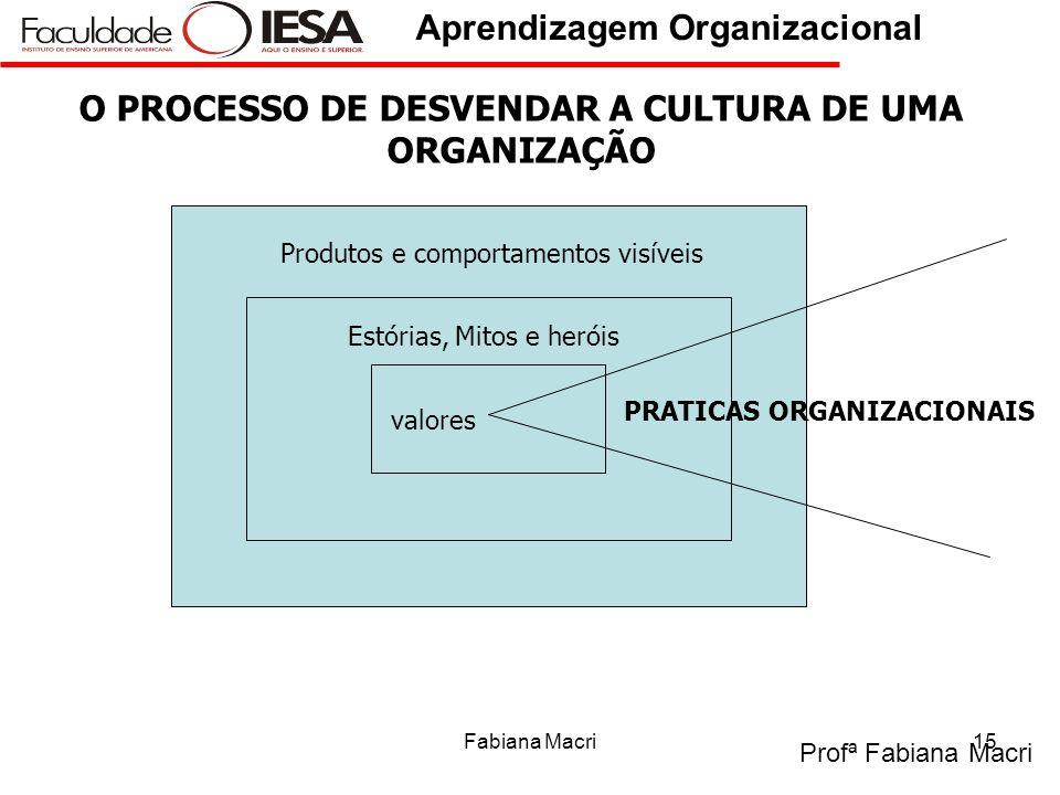 Profª Fabiana Macri Aprendizagem Organizacional Fabiana Macri15 valores Estórias, Mitos e heróis Produtos e comportamentos visíveis PRATICAS ORGANIZAC