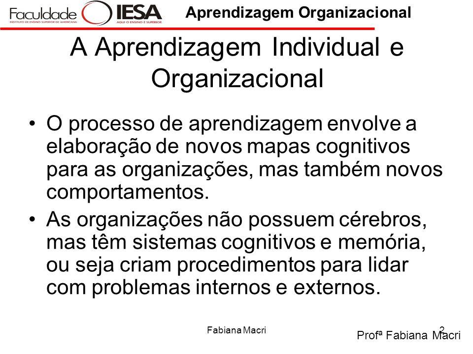 Profª Fabiana Macri Aprendizagem Organizacional Fabiana Macri2 A Aprendizagem Individual e Organizacional O processo de aprendizagem envolve a elabora