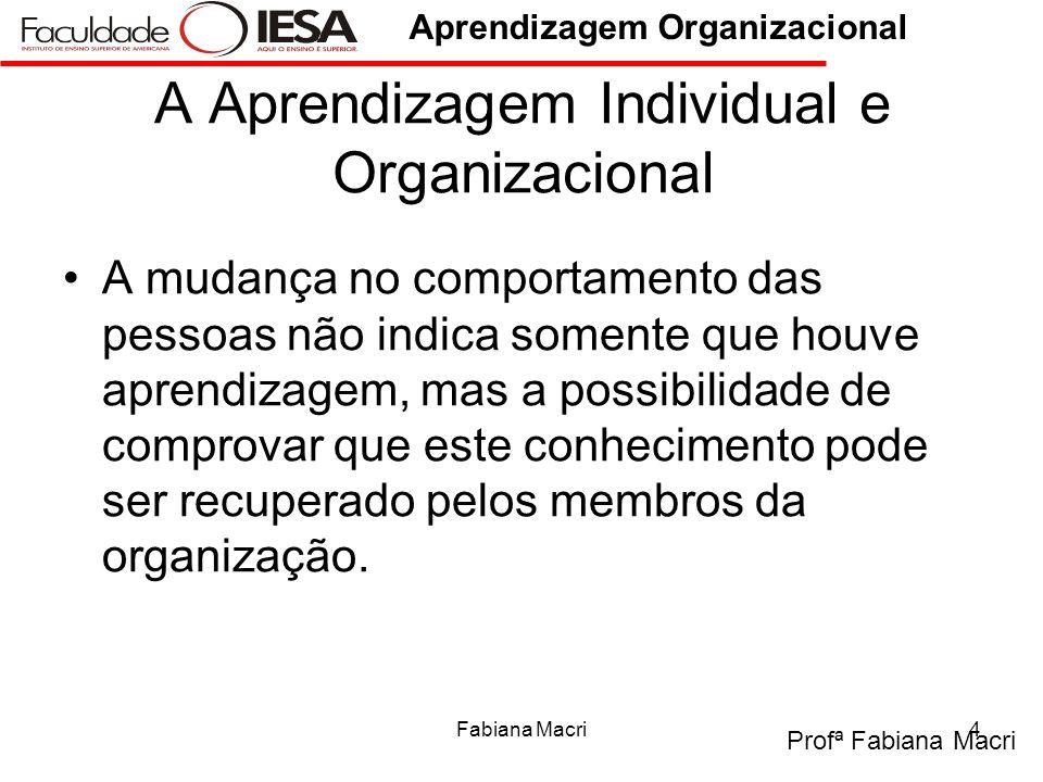 Profª Fabiana Macri Aprendizagem Organizacional Fabiana Macri4 A Aprendizagem Individual e Organizacional A mudança no comportamento das pessoas não i