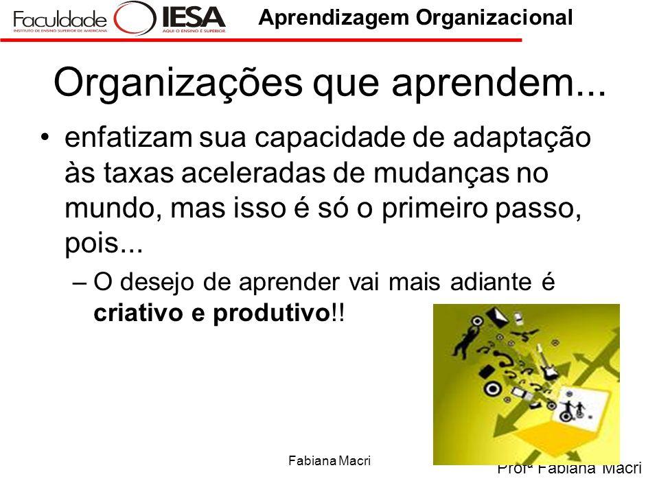 Profª Fabiana Macri Aprendizagem Organizacional Fabiana Macri6 Organizações que aprendem... enfatizam sua capacidade de adaptação às taxas aceleradas
