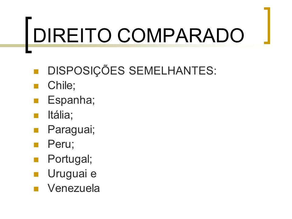 DIREITO COMPARADO DISPOSIÇÕES SEMELHANTES: Chile; Espanha; Itália; Paraguai; Peru; Portugal; Uruguai e Venezuela