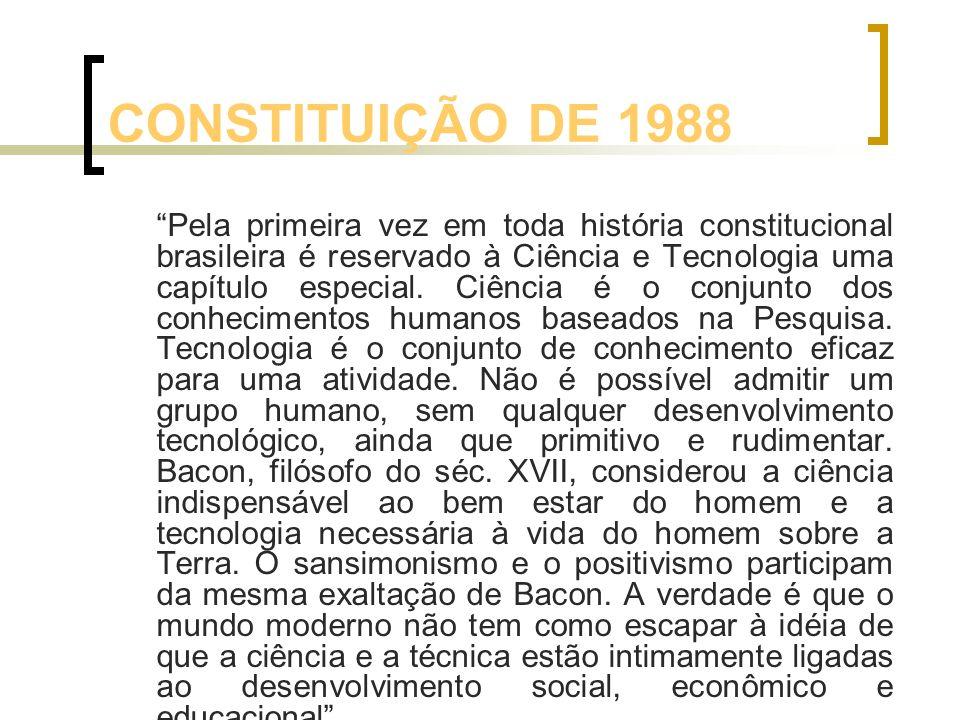CONSTITUIÇÃO DE 1988 Pela primeira vez em toda história constitucional brasileira é reservado à Ciência e Tecnologia uma capítulo especial. Ciência é