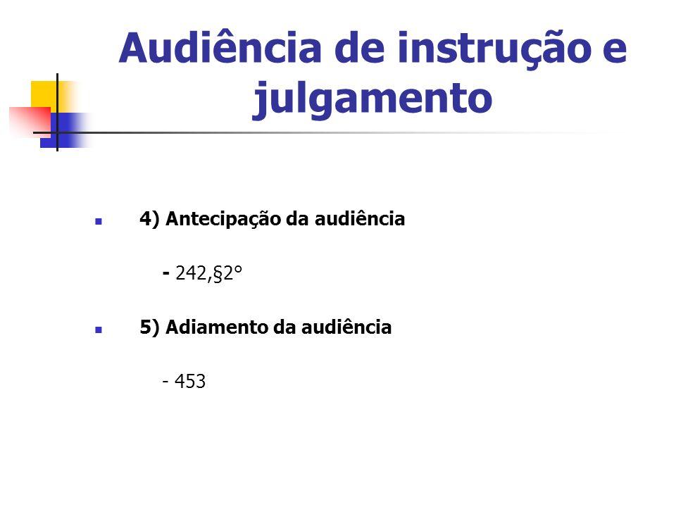 Audiência de instrução e julgamento 4) Antecipação da audiência - 242,§2° 5) Adiamento da audiência - 453