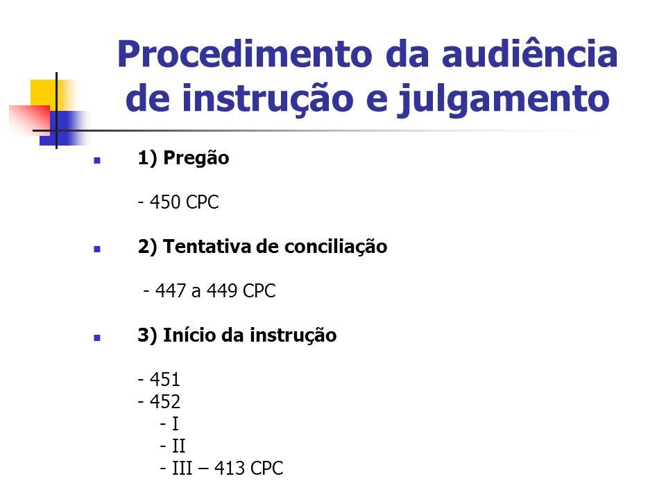 Procedimento da audiência de instrução e julgamento 1) Pregão - 450 CPC 2) Tentativa de conciliação - 447 a 449 CPC 3) Início da instrução - 451 - 452