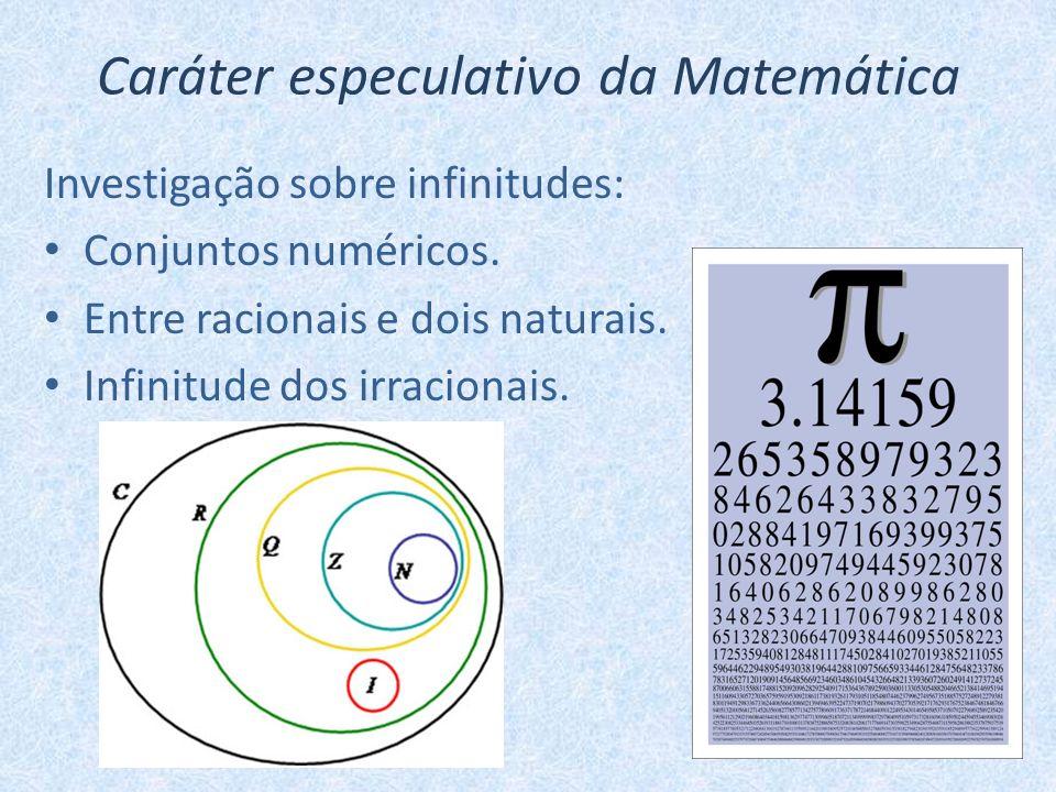 Caráter especulativo da Matemática Investigação sobre infinitudes: Conjuntos numéricos. Entre racionais e dois naturais. Infinitude dos irracionais.