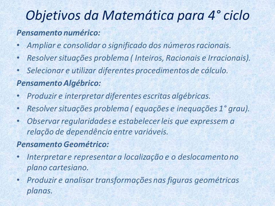 Objetivos da Matemática para 4° ciclo Pensamento numérico: Ampliar e consolidar o significado dos números racionais. Resolver situações problema ( Int