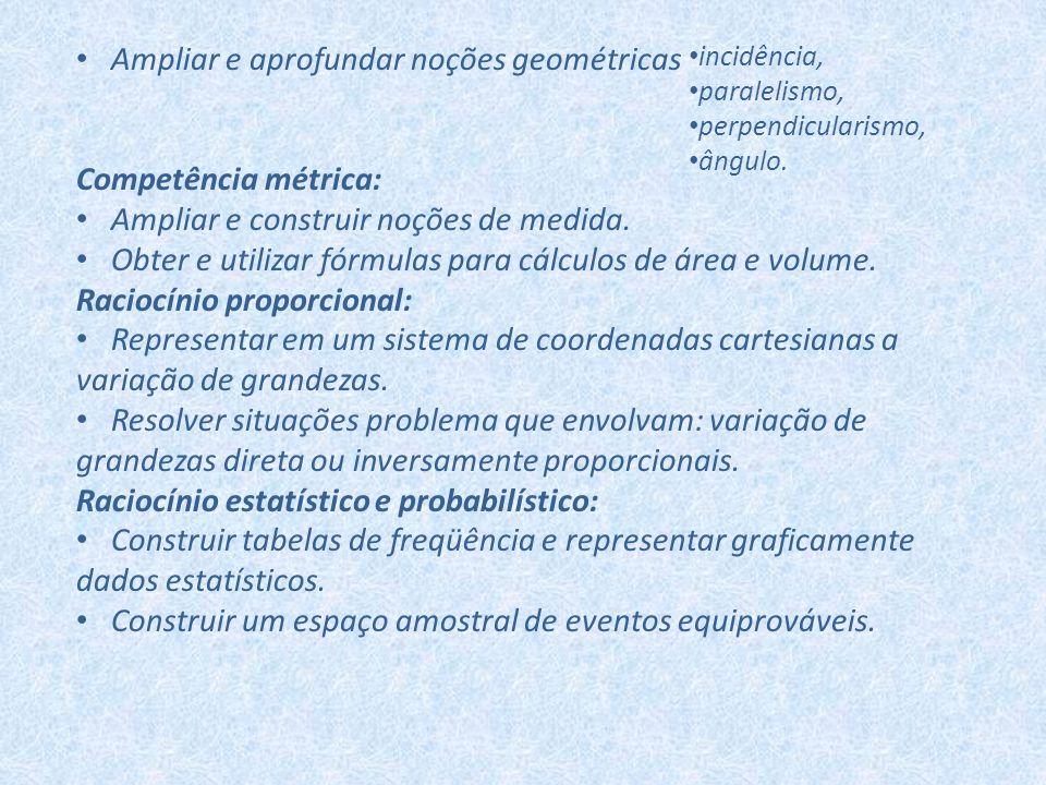 Ampliar e aprofundar noções geométricas Competência métrica: Ampliar e construir noções de medida. Obter e utilizar fórmulas para cálculos de área e v