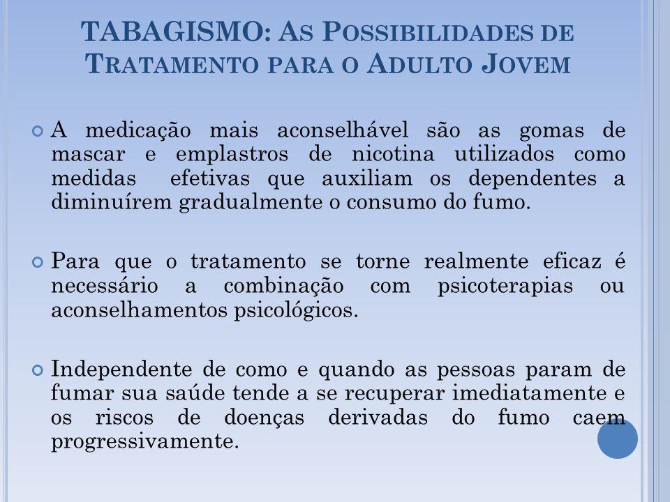 TABAGISMO: A S P OSSIBILIDADES DE T RATAMENTO PARA O A DULTO J OVEM A medicação mais aconselhável são as gomas de mascar e emplastros de nicotina util