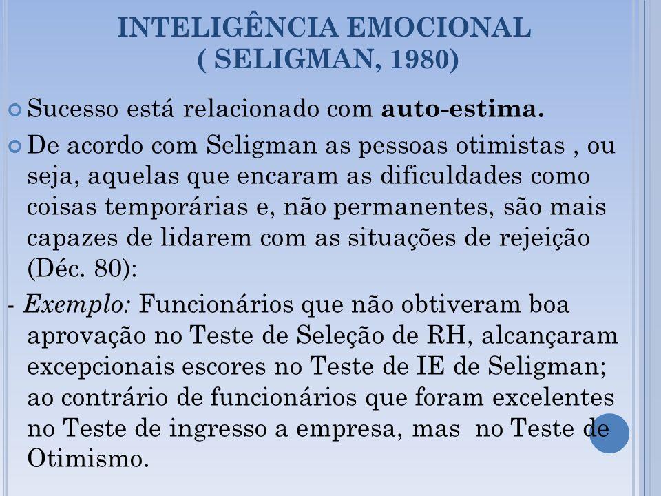 INTELIGÊNCIA EMOCIONAL ( SELIGMAN, 1980) Sucesso está relacionado com auto-estima. De acordo com Seligman as pessoas otimistas, ou seja, aquelas que e