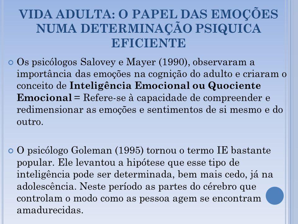VIDA ADULTA: O PAPEL DAS EMOÇÕES NUMA DETERMINAÇÃO PSIQUICA EFICIENTE Os psicólogos Salovey e Mayer (1990), observaram a importância das emoções na co