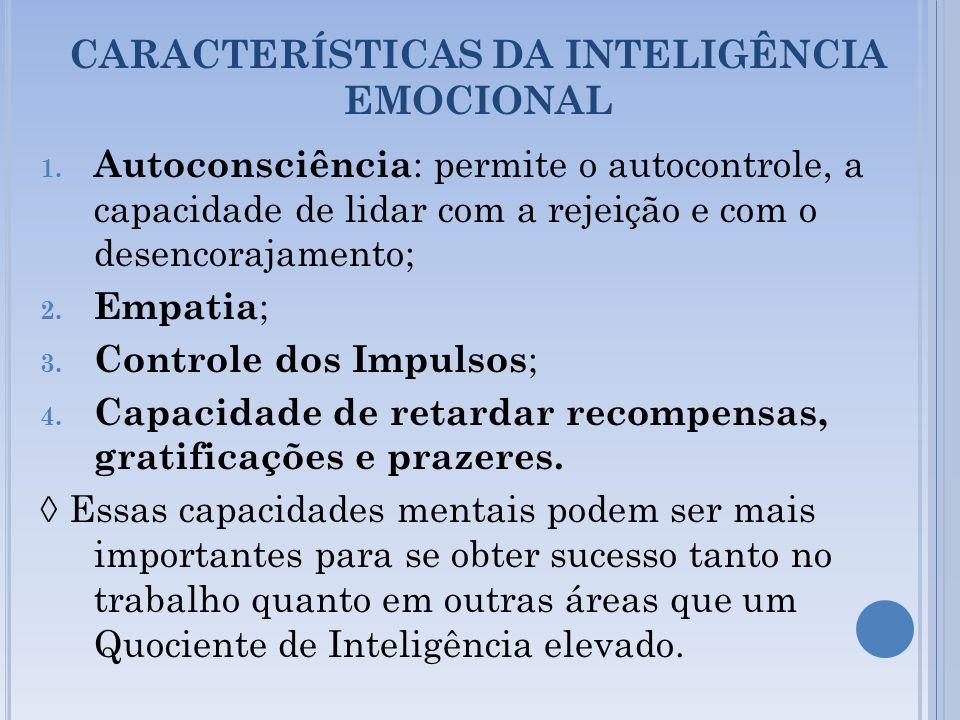 CARACTERÍSTICAS DA INTELIGÊNCIA EMOCIONAL 1. Autoconsciência : permite o autocontrole, a capacidade de lidar com a rejeição e com o desencorajamento;
