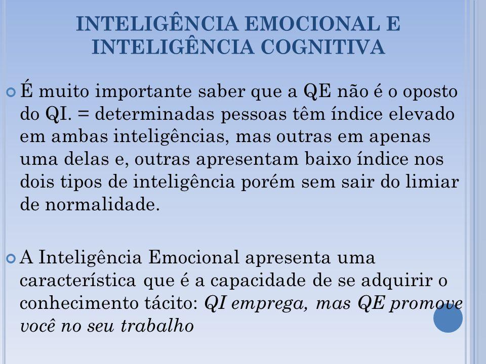 INTELIGÊNCIA EMOCIONAL E INTELIGÊNCIA COGNITIVA É muito importante saber que a QE não é o oposto do QI. = determinadas pessoas têm índice elevado em a