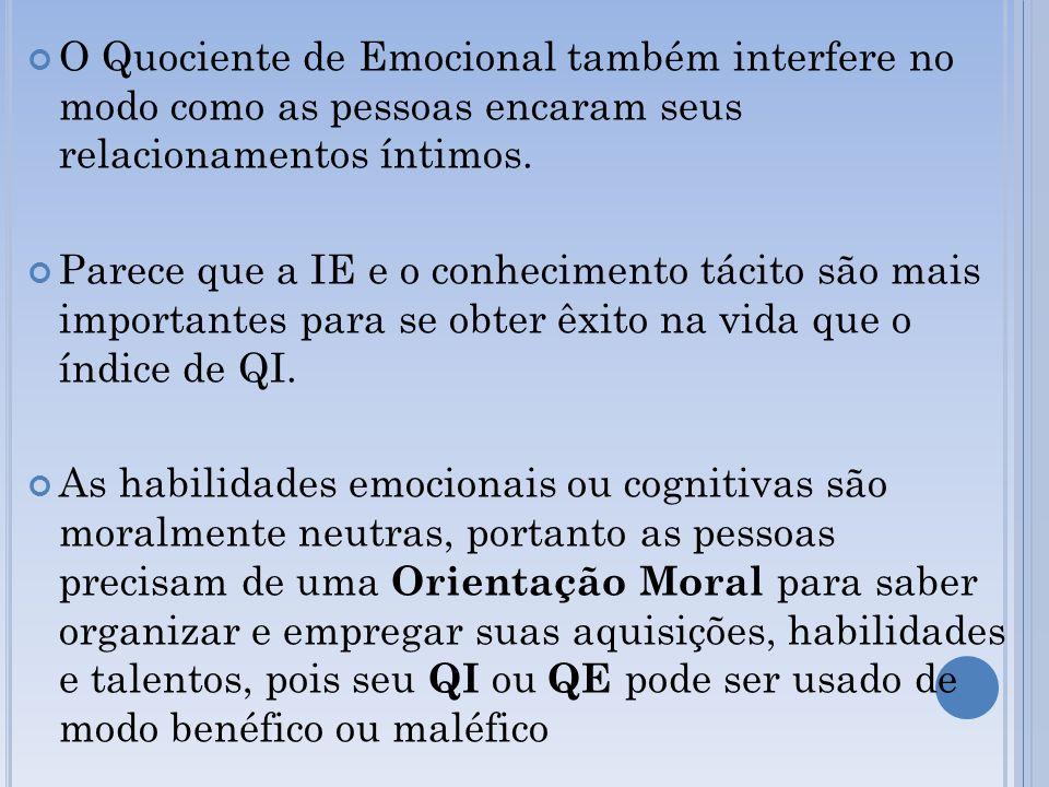 O Quociente de Emocional também interfere no modo como as pessoas encaram seus relacionamentos íntimos. Parece que a IE e o conhecimento tácito são ma
