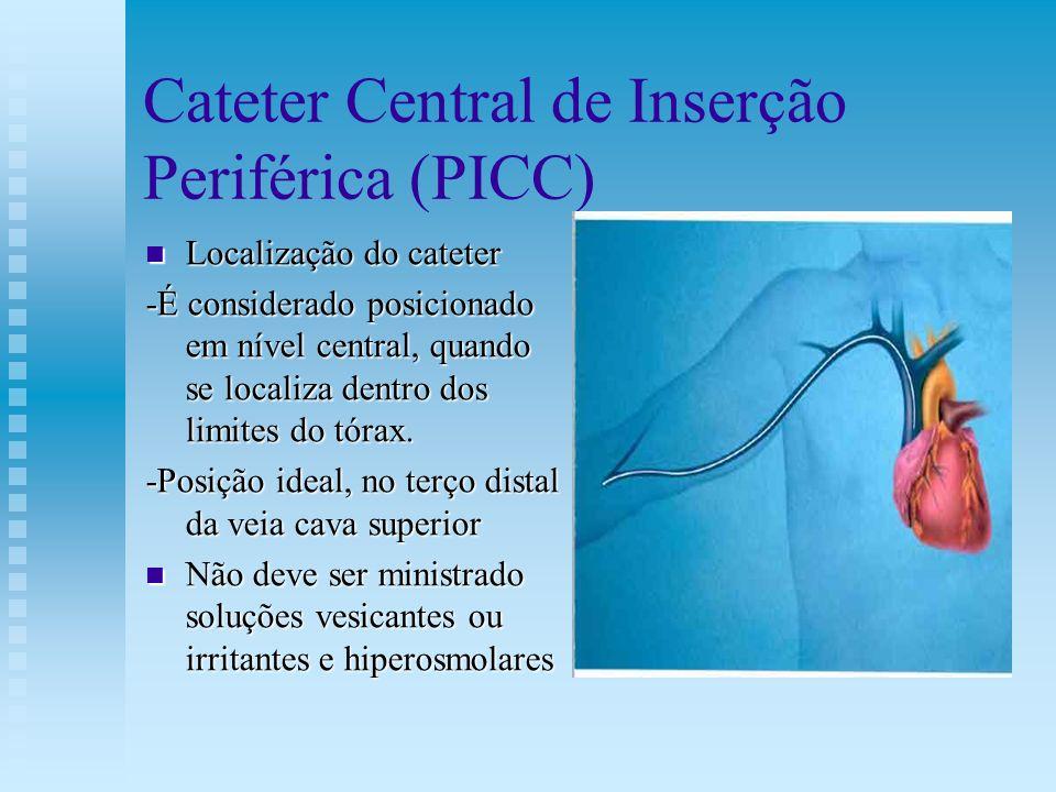 Cateter Central de Inserção Periférica (PICC) Localização do cateter Localização do cateter -É considerado posicionado em nível central, quando se loc