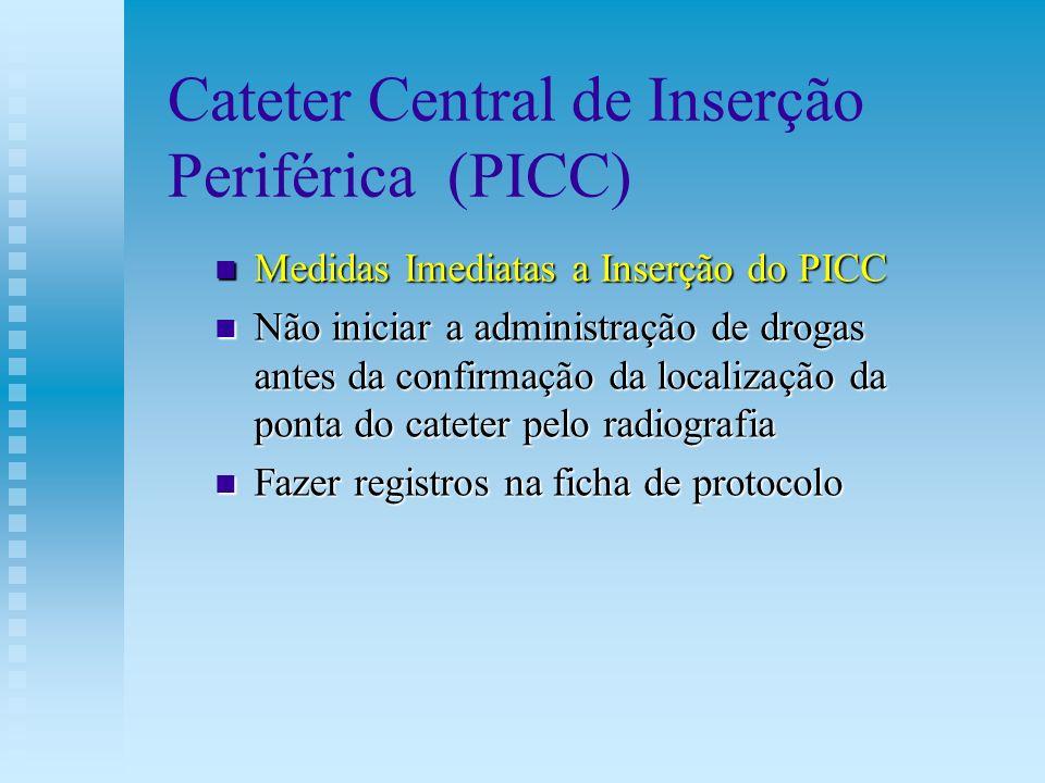 Cateter Central de Inserção Periférica (PICC) Medidas Imediatas a Inserção do PICC Medidas Imediatas a Inserção do PICC Não iniciar a administração de