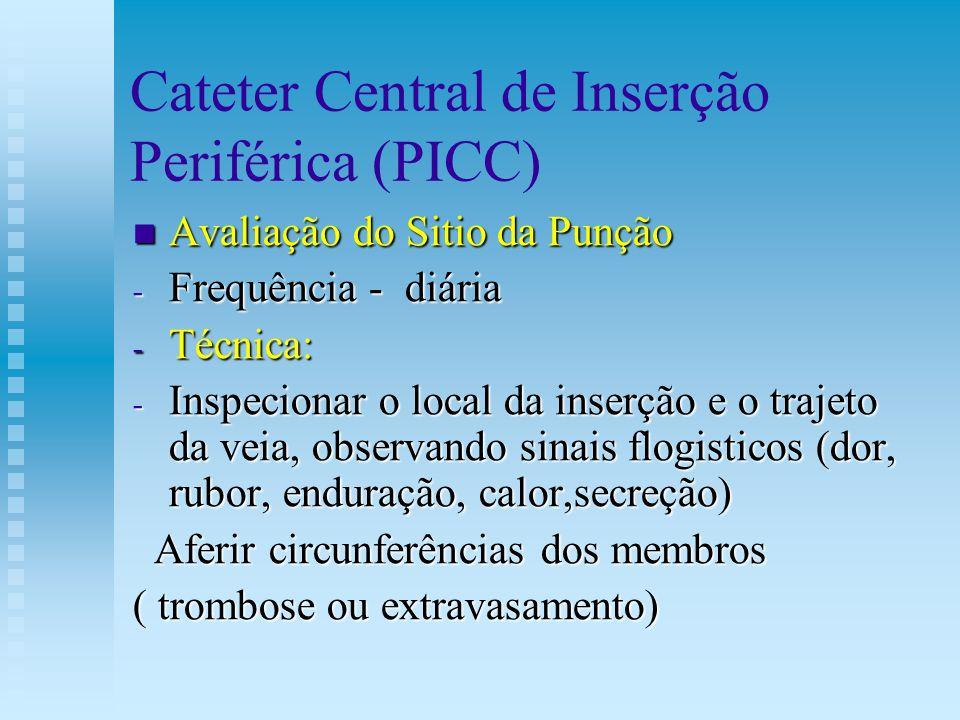 Cateter Central de Inserção Periférica (PICC) Avaliação do Sitio da Punção Avaliação do Sitio da Punção - Frequência - diária - Técnica: - Inspecionar