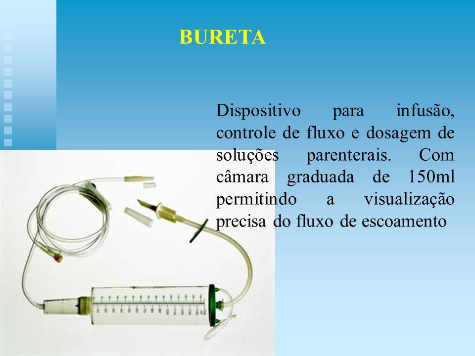 Dispositivo para infusão, controle de fluxo e dosagem de soluções parenterais. Com câmara graduada de 150ml permitindo a visualização precisa do fluxo