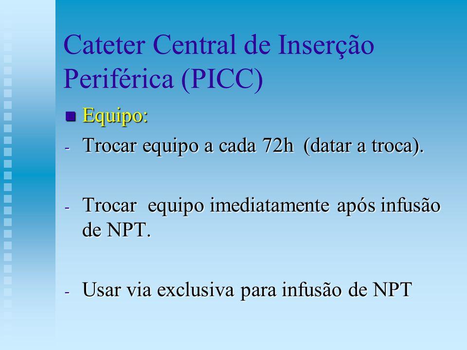 Cateter Central de Inserção Periférica (PICC) Equipo: Equipo: - Trocar equipo a cada 72h (datar a troca). - Trocar equipo imediatamente após infusão d