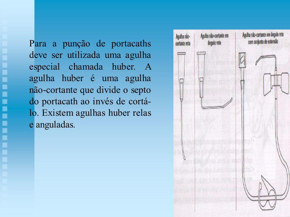 Para a punção de portacaths deve ser utilizada uma agulha especial chamada huber. A agulha huber é uma agulha não-cortante que divide o septo do porta