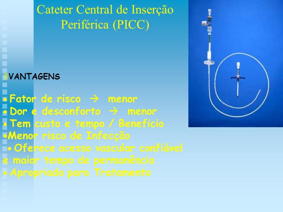 Cateter Central de Inserção Periférica (PICC) VANTAGENS Fator de risco menor Dor e desconforto menor Tem custo e tempo / Beneficio Menor risco de Infe