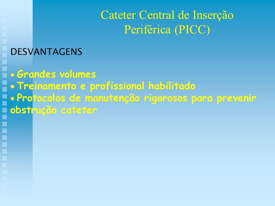 DESVANTAGENS Grandes volumes Treinamento e profissional habilitado Protocolos de manutenção rigorosos para prevenir obstrução cateter Cateter Central