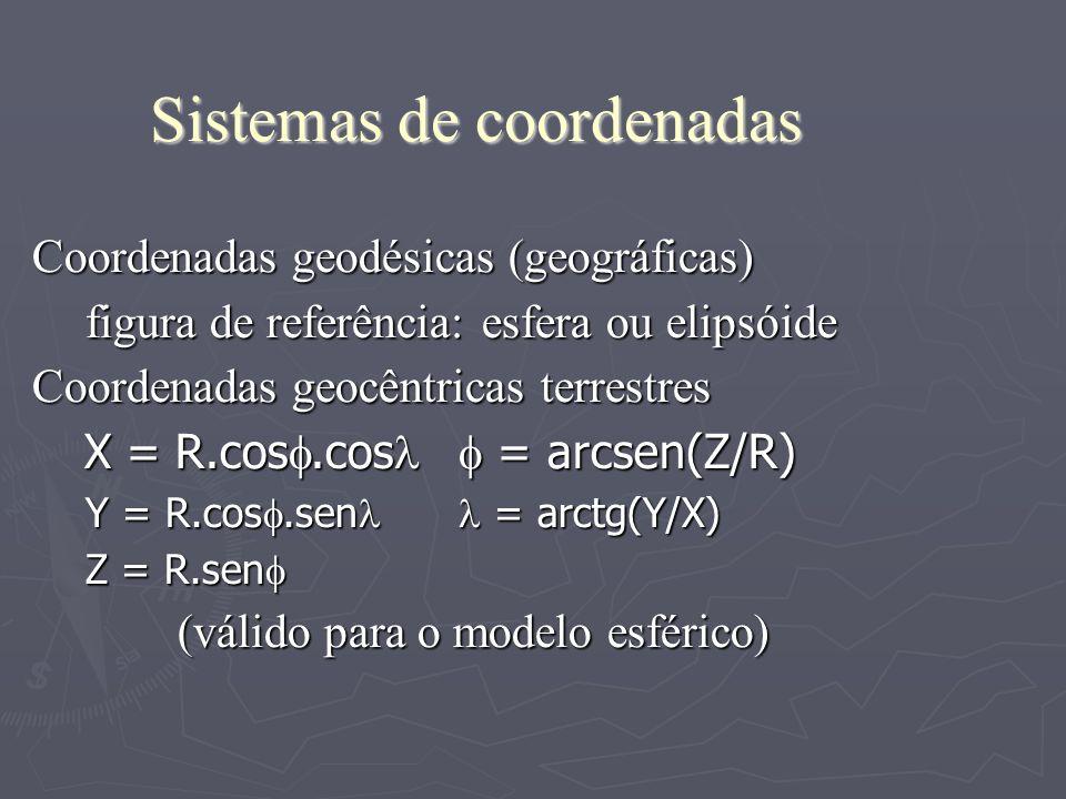 Sistemas de coordenadas Coordenadas geodésicas (geográficas) figura de referência: esfera ou elipsóide Coordenadas geocêntricas terrestres X = R.cos.c