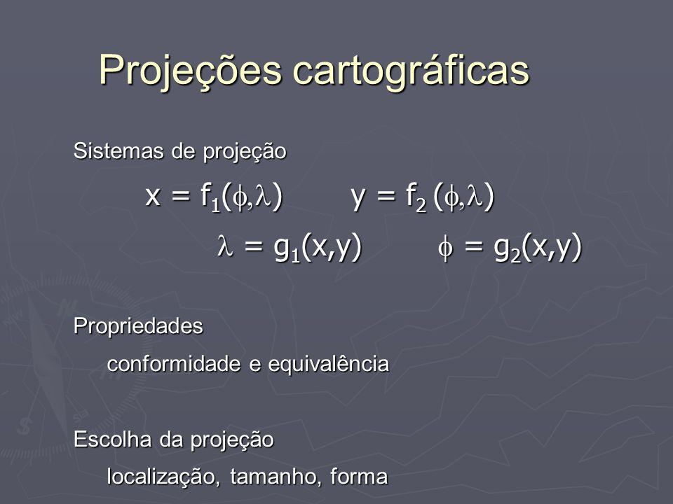 Projeções cartográficas Sistemas de projeção x = f 1 ( ) y = f 2 ( ) x = f 1 ( ) y = f 2 ( ) = g 1 (x,y) = g 2 (x,y) = g 1 (x,y) = g 2 (x,y)Propriedad