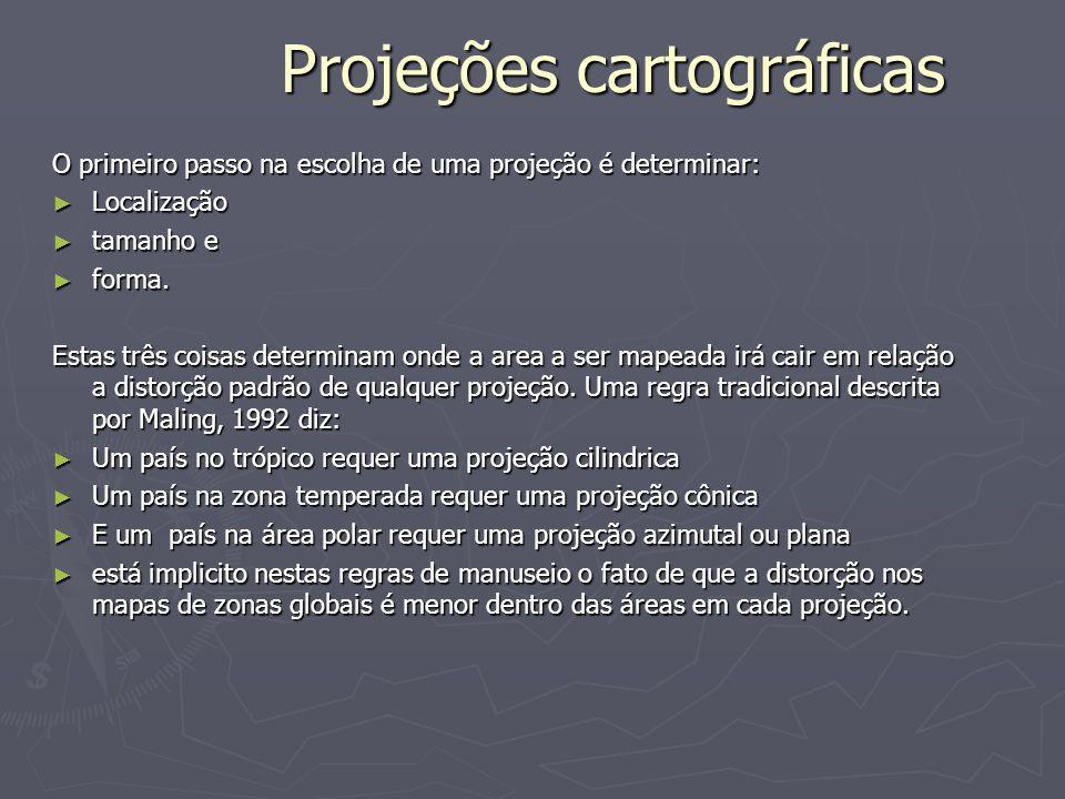 Projeções cartográficas O primeiro passo na escolha de uma projeção é determinar: Localização Localização tamanho e tamanho e forma. forma. Estas três