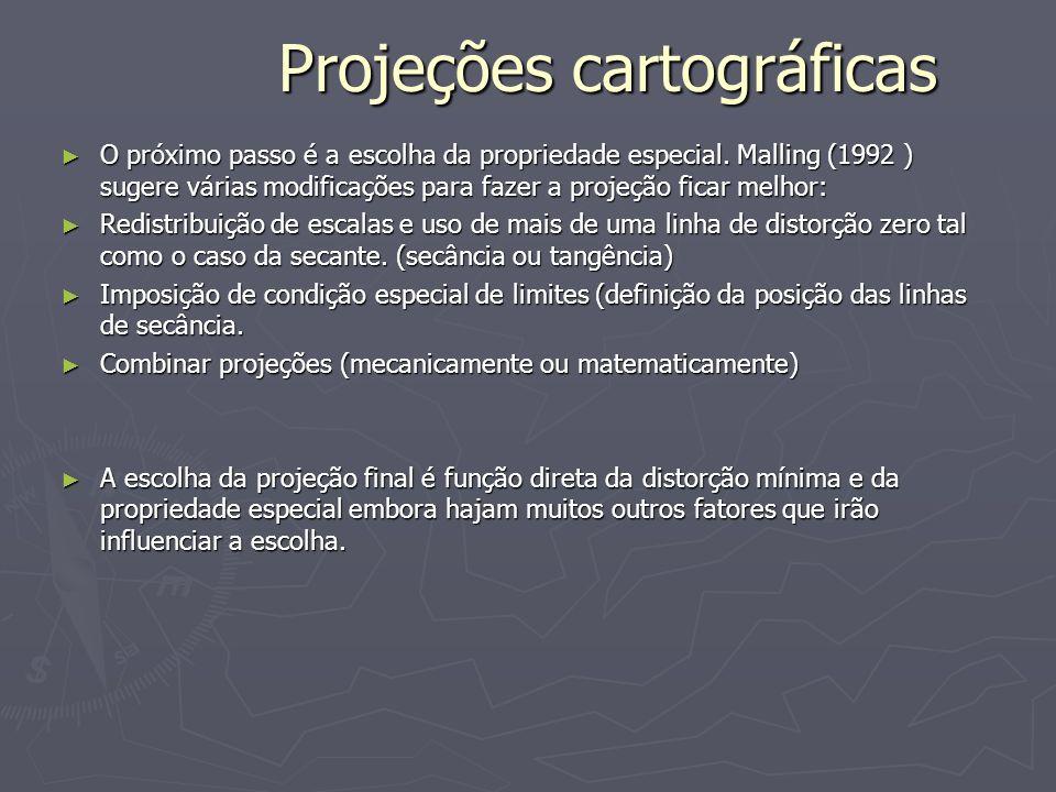 Projeções cartográficas O próximo passo é a escolha da propriedade especial. Malling (1992 ) sugere várias modificações para fazer a projeção ficar me