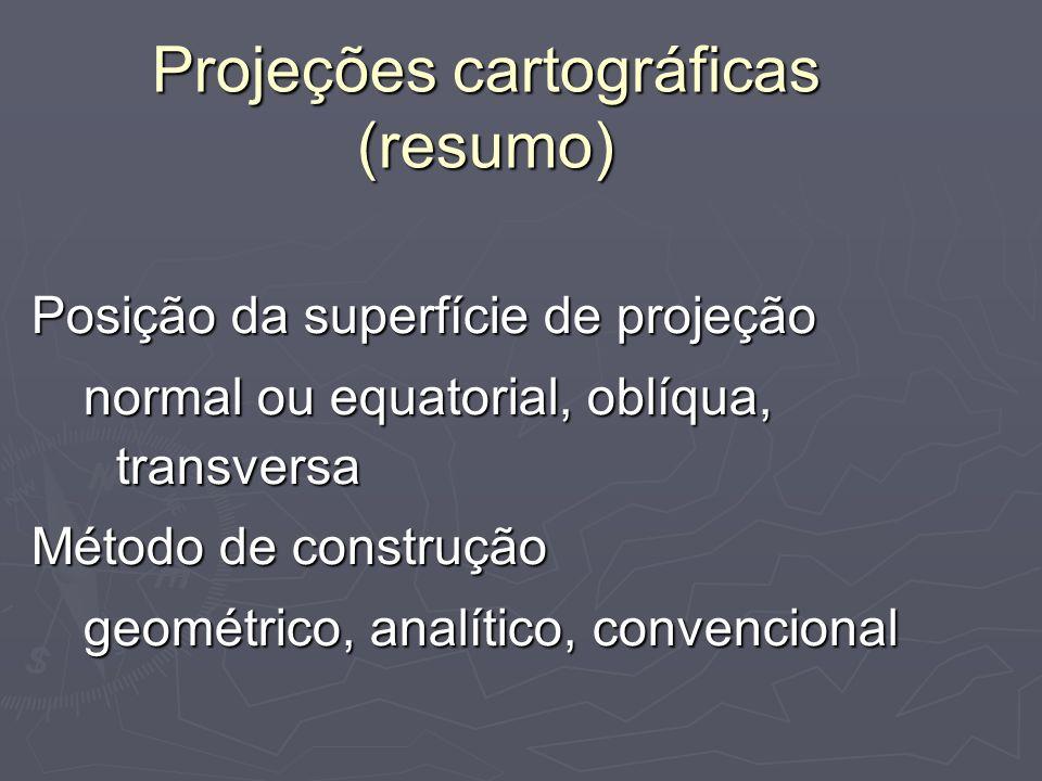 Projeções cartográficas (resumo) Posição da superfície de projeção normal ou equatorial, oblíqua, transversa Método de construção geométrico, analític