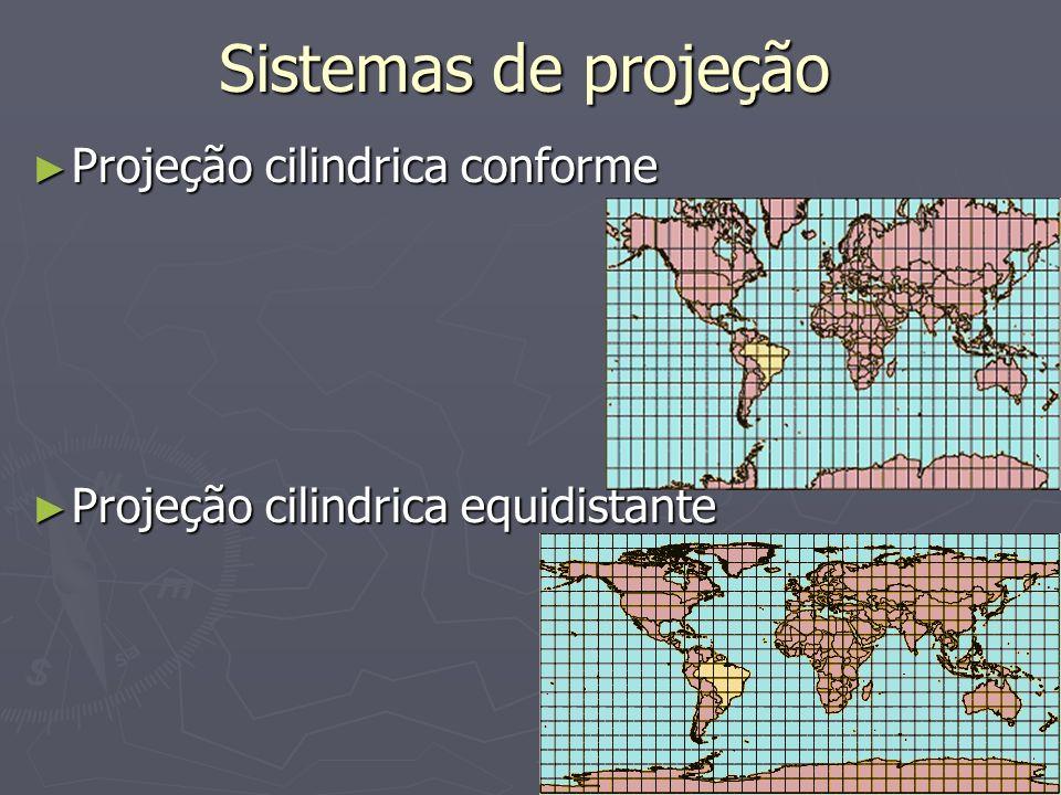 Sistemas de projeção Projeção cilindrica conforme Projeção cilindrica conforme Projeção cilindrica equidistante Projeção cilindrica equidistante