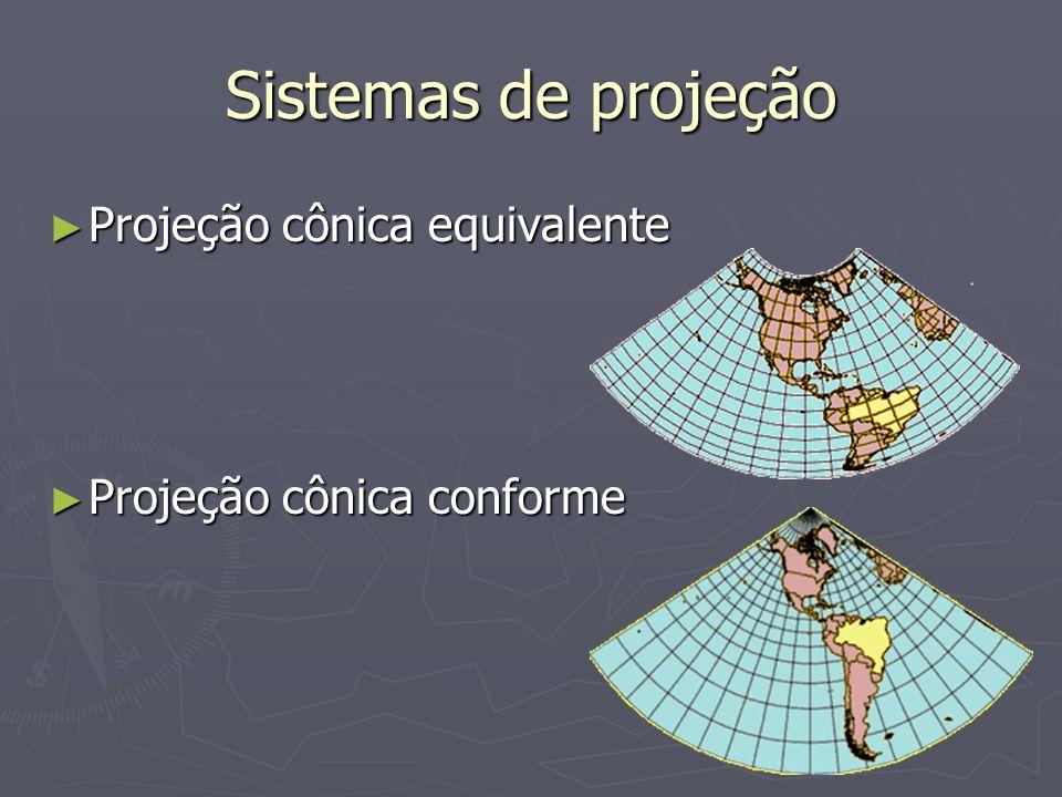 Sistemas de projeção Projeção cônica equivalente Projeção cônica equivalente Projeção cônica conforme Projeção cônica conforme