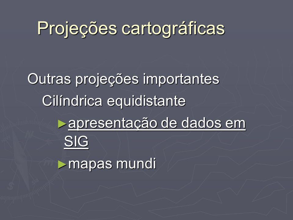 Projeções cartográficas Outras projeções importantes Cilíndrica equidistante apresentação de dados em SIG apresentação de dados em SIG mapas mundi map