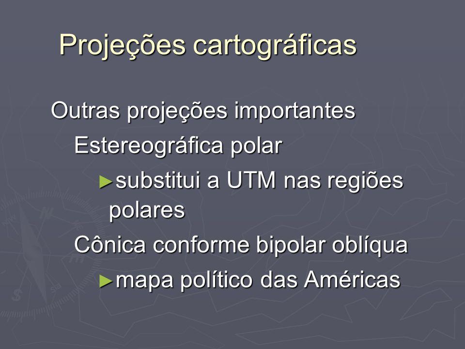 Projeções cartográficas Outras projeções importantes Estereográfica polar substitui a UTM nas regiões polares substitui a UTM nas regiões polares Côni