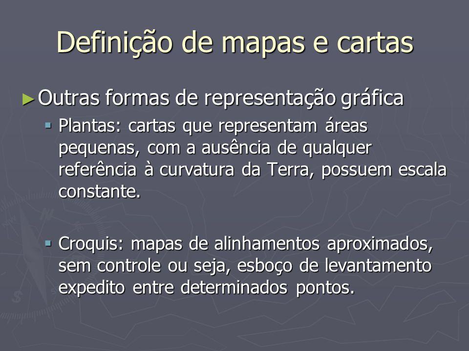 Definição de mapas e cartas Outras formas de representação gráfica Outras formas de representação gráfica Plantas: cartas que representam áreas pequen