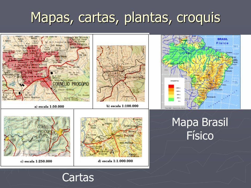Projeções cartográficas Outras projeções importantes Cilíndrica equidistante apresentação de dados em SIG apresentação de dados em SIG mapas mundi mapas mundi
