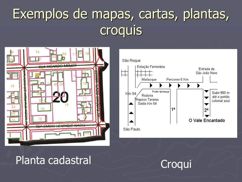 Exemplos de mapas, cartas, plantas, croquis Planta cadastral Croqui