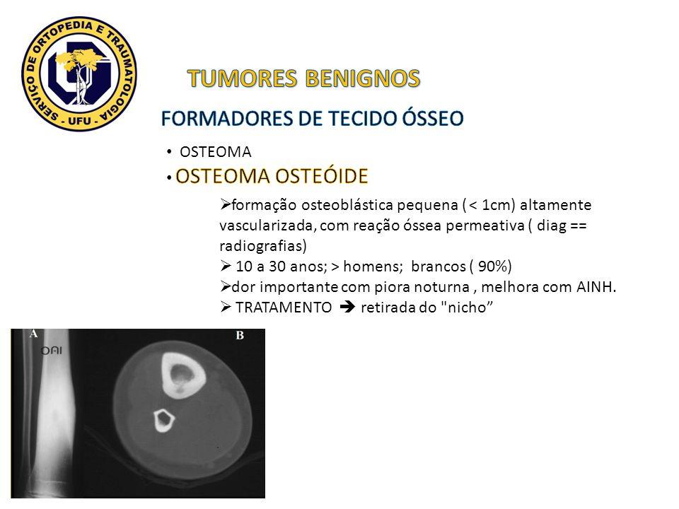 formação osteoblástica pequena ( < 1cm) altamente vascularizada, com reação óssea permeativa ( diag == radiografias) 10 a 30 anos; > homens; brancos (