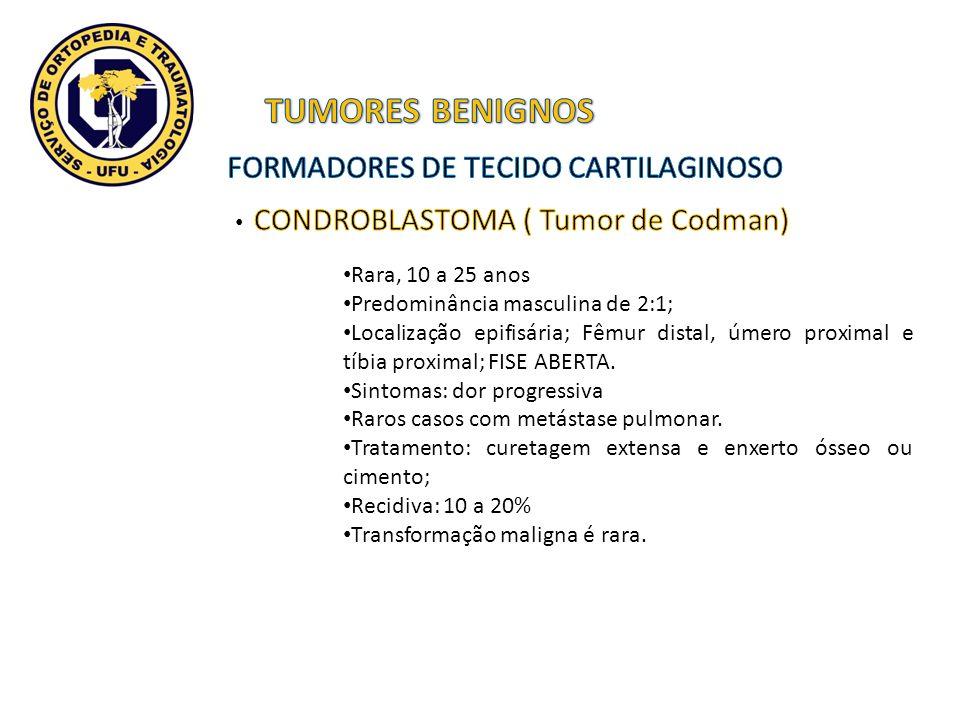 Rara, 10 a 25 anos Predominância masculina de 2:1; Localização epifisária; Fêmur distal, úmero proximal e tíbia proximal; FISE ABERTA. Sintomas: dor p
