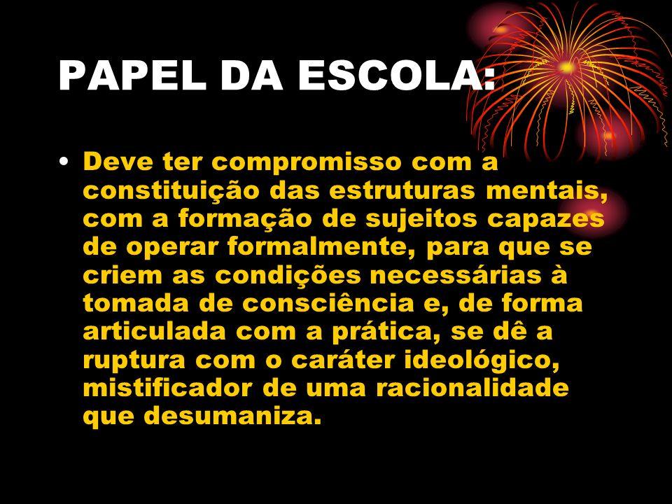 PAPEL DA ESCOLA: Deve ter compromisso com a constituição das estruturas mentais, com a formação de sujeitos capazes de operar formalmente, para que se