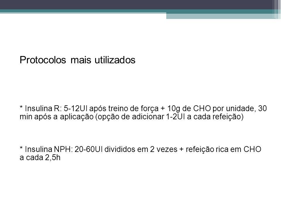 Protocolos mais utilizados * Insulina R: 5-12UI após treino de força + 10g de CHO por unidade, 30 min após a aplicação (opção de adicionar 1-2UI a cad