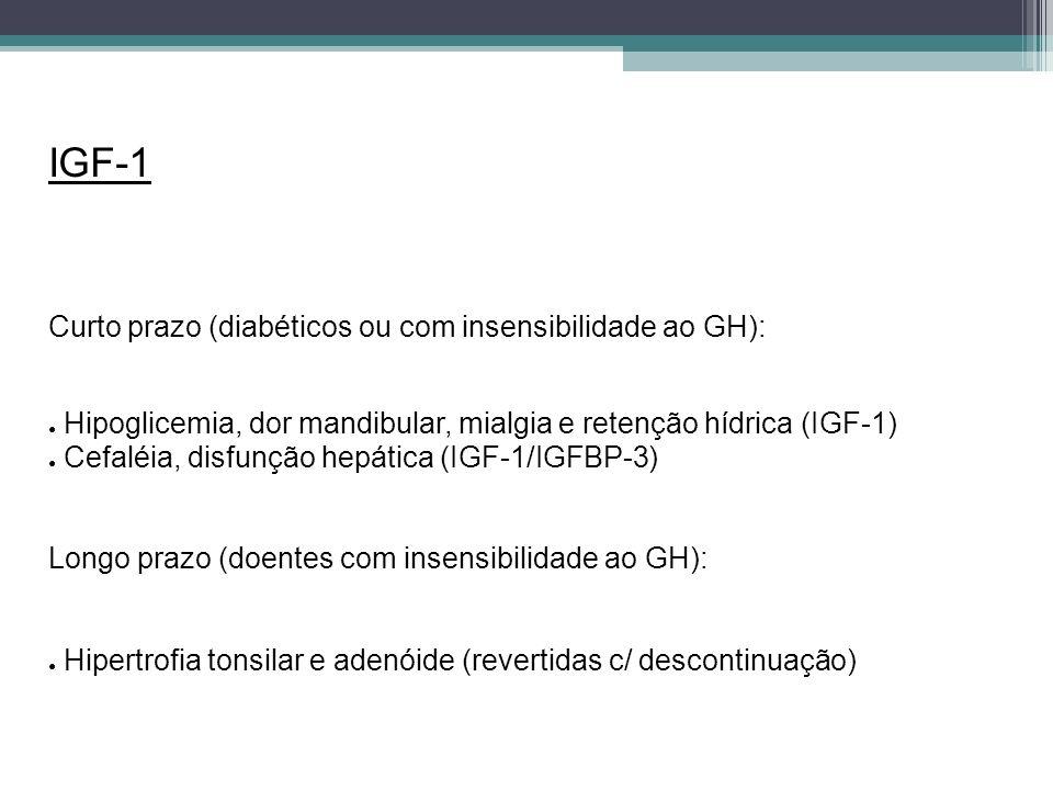 IGF-1 Curto prazo (diabéticos ou com insensibilidade ao GH): Hipoglicemia, dor mandibular, mialgia e retenção hídrica (IGF-1) Cefaléia, disfunção hepá