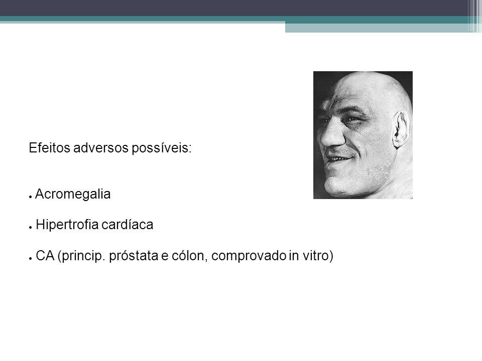 Efeitos adversos possíveis: Acromegalia Hipertrofia cardíaca CA (princip. próstata e cólon, comprovado in vitro)